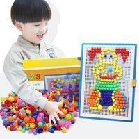 Wholesale Picture Puzzles - 296pcs Mosaic Picture Puzzle Toy Children Composite Intellectual Educational Mushroom Nail Kit Toys Development of intellectual toys