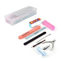 Wholesale gifts nail online - 9PCS SET Professional Manicure Tools Kit Nail Files Brush Buffers NailArt Accessories for Toe and Finger Nail Manicure Set Gift
