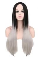 cabelo cosplay preto direto venda por atacado-Mulheres Negras Longas Em Linha Reta Cosplay Preto Ao Cinza Ombre 70 Cm Perucas De Cabelo Sintético