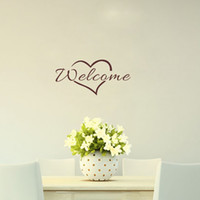 Wholesale Welcome Stickers - Welcome with Heart Creative Quote Decorative Vinyl Wall Decals for Living Room Various colors are Available
