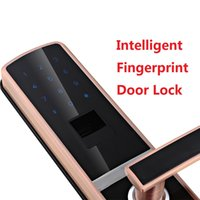 Wholesale Intelligent Fingerprint Lock - Wholesale- Intelligent fingerprint door lock biometric with good quality Free Shipping Red Color