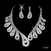 Wholesale Cheap Necklace Sets Weddings - 15042 Cheap Hot Sale Womens Bridal Wedding Pageant Rhinestone Necklace Earrings Jewelry Sets for Party Bridal Jewelry