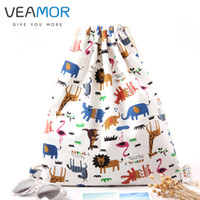 Wholesale Stock Brand Shoes - Wholesale- VEAMOR Brand Girls Shoulder Bags Drawstring Travel Canvas Bags Zoo Cartoon Backpack Women Shoes Storage Bags WB495