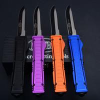 Wholesale top survival gear - Top Quality Micro Auto Tactical Knife 440C Drop Point Titanium Blade EDC Pocket Knives Outdoor Survival Tactical Gear