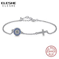 Wholesale Blue Rhinestone Bangle Bracelet - ELESHE Authentic 925 Sterling Silver Chain Bracelet Bangle Blue Rhinestone Evil Eye&Crystal Cross Charms Bracelet Women Jewelry