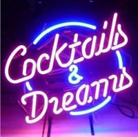 Wholesale Neon Cocktail Glass - Fashion New Handcraft Cocktails And Dreams Real Glass Beer Bar Display neon sign 19x15!!!Best Offer!