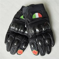 Wholesale Real Leather Men Gloves - High quality 2017 GP Rossi gloves guantes para moto motorcycle gloves leather carbon VR46 real leather gloves with gift