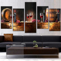 Wholesale Canvas Paintings Wine Glasses - Modern 5pcs Canvas Wall Paintings Fruit Grape Red Wine Glass Picture Canvas Prints Painting for Kitchen Dining Room Home Decor