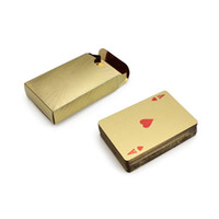 cartões de poker de folha de ouro 24k venda por atacado-24 K Folha de Ouro Banhado A Poker Cartas de Baralho de Karat Folha De Ouro Banhado A Pôquer Jogo de Baralho US Dollor coleção