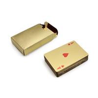 золотые игральные карты оптовых-24K золотой фольги покрытием покер игральные карты карат золотой фольги покрытием покер игральные карты игры США Dollor коллекция