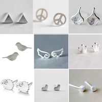 delfine ohrstecker großhandel-100 PC geben Verschiffen frei 925 versilbern Ohrring kreatives Form-Schaf-Stern-Ohr-Bolzen-koreanische Art-Delphin-Vogel-nette Form-Ohrringohrbolzen