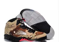 Wholesale Camo Lycra Men - Wholesale 2017 High Quality Air Retro 5s Basketball Shoes camouflage trophy room Oreo 5 V Sneakers Men Women CAMO Grey Red Sports Trainers