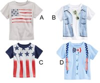 Wholesale Children Clothes Design For Boys - Boys T-shirts Children Clothing 100% Cotton Short Sleeve T-shirts European Style Flag Design For Kids 2 to 6 Age