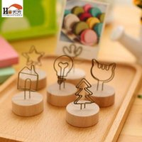 Wholesale Wooden Clip Draw - CUSHAWFAMILY Vintage wooden desktop figurines, message note clip pictures photo holder Home decor Arts crafts gift