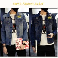 Square Neck square hole sleeves - Men s new coll spring denim retro hole fashion denim jacket slim casual jeans jacket jacket trend