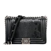 Wholesale White Snake Skin Bag - hot sale fashion new shoulder flap bag snake skin woman bag pu leather chain lady flap designer handbags