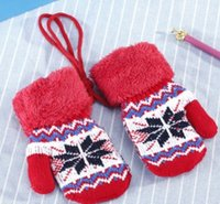Wholesale Baby Snow Gloves - Child's winter cotton warm gloves baby snow muffon with a pair of knitted mittens