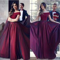 Wholesale Beautiful Red Carpet Dresses - Beautiful Wine Red Arabic Evening Dresses 2017 Custom Made Vesitidos de fieta A Line Floor Length Off the Shoulder Party Prom Gowns