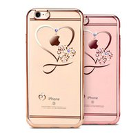 Wholesale Cellphone Clear Case - Clear CellPhone Case for iPhone 7 7Plus 6 6s 6Plus 6sPlus Plating Clear Soft TPU Back Cover with Heart Pattern Diamons