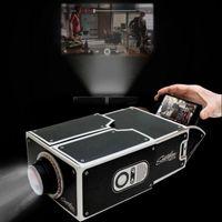 Wholesale Mini Portable Projector Phone - Novelty Lighting LED DIY 3D Projector Cardboard Mini Smartphone Projector Light Adjustable Mobile Phone Projector Portable Cinema In A Box