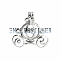 Wholesale Wishing Pearl Cage Sterling Silver Jewellery Halloween Gift Princess Cinderella Pumpkin Carriage Pendant Mounting for Pearl Party