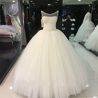 Wholesale Tulle Corset Bling - Bling Pearls Crystal Ball Gown Sheer Wedding Dresses 2017 Plus Size Ivory Ruched Tulle Corset Bridal Gowns Real Images Custom Made