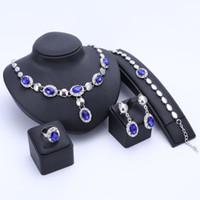 anel de esmeralda africano venda por atacado-Nova Conjuntos de Jóias Africano Banhado A Ouro Imitado Sapphire / Ruby Esmeralda De Cristal Mulheres Colar De Casamento Pulseira Brinco Set Anel