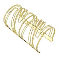 Wholesale Designer Wide Cuff Bracelets - Steampunk Bracelets&Bangles Big Gold-Color Open Cuff Bangles Wide Statement Arm Bracelet Designer Bijoux