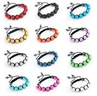 Wholesale clay ornaments wholesale - High quality Shambala bracelet beaded braid 16 color options 10mm beads female ornaments a747