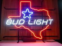 signos de cerveza de texas al por mayor-Nuevo Bud Light Texas Star hecho a mano ture glass Beer Neon Light Sign bar