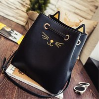 sevimli bayan çanta toptan satış-Kedi Çanta Kadın Bez Çantalar Moda Çanta Tasarımcısı Moda Lady Bayanlar Için Rahat Sevimli Omuz Çantası El Büyük Kapasiteli Çanta