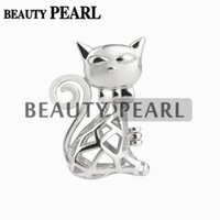 Wholesale Love Pearl Sterling Silver - 5 Pieces Lovely Cat Cage Locket Love Wish Pearl Gift 925 Sterling Silver Pearl Cage Pendant