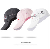 Wholesale Korean Cap For Lady - Wholesale- korean harajuku hats summer pink heart love Dad Hat white polo caps 2017 girls lady caps baseball hats for women brand style