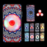 Wholesale Plastic Toy Apples - Newest for iPhone 7 Cell Phone Case With Removable Fidget Spinner Gleamy LED Switch EDC Toy Hand Spinner Case TPU for IPhone