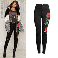 Wholesale High Waist Jean Pants - 2017 New Fashion 3D Rose Embroidered Black Ripped Jeans Women High Waist Ladies Skinny Jean Slim Femme plus size
