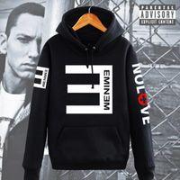 Wholesale Thicken Hoodies - Fashion Winter Men's Fleece Hoodies Eminem Printed Thicken Pullover Sweatshirt hip hop Men Sportswear Clothing High quality