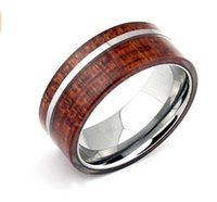 Wholesale Tungsten Wood Inlay Wedding Band - Free Shipping New Arrival Men's Tungsten Bands Rings Nature Hawaii Koa Wood Inlay 8mm Comfort Fit Unique Jewelry