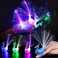 Wholesale Light Up Baby Toys - 2400PCS Funny Peacock Finger Lamp Toys Children Baby Kids Light-up Toys Novelty Toys