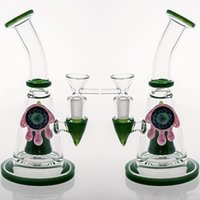 Wholesale Chinese Stockings - In Stock New Green Art Work Chinese Glass Bongs Water Pipes Thickness smoking water Glass bongs With Bowl Per Recycler Oil Rigs