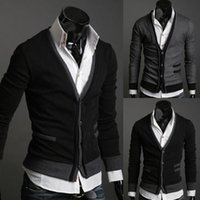 Wholesale Wool Single Breasted Coat Mens - 2017 New autumn Mens sweaters male V neck winter men coat jumpers Casual Sweater brand cardigan masculino pocket jersey outerwear