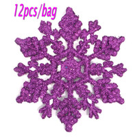 Wholesale Cheap Snowflake Ornaments - Cheap Colorful Christmas Snowflakes Diameter 10cm Weight 68g Plastic Snowflake Pendant Glitter Christmas Tree Decorations Free Shipping