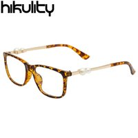 Wholesale New Tortoiseshell Square Eyewear Frame Pearl Bead Decoration Clear Glasses for Women Spectacle Frame Transparent Lens Eyeglasses