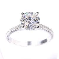 4d73a1c0da52 2 quilates ct f compromiso de color de boda de laboratorio crecido  Moissanite anillo de diamante con moissanite acentos sólido 14k 585 ccp de oro  blanco