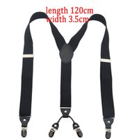 Wholesale big man suspenders - Wholesale- 120cm fashion larger Men's suspenders Y 3.5cm width 4 clips and Unisex Braces Suspender black for big adult