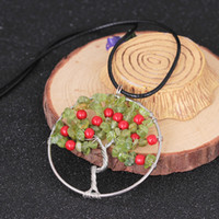 Wholesale Cherries Pendants - Agate Gravel Life of Tree Necklace Original European Personality Cherry Necklace for Woman Round Pendants Natural Stone Necklace