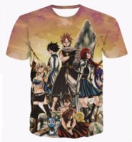 fee schwanz t-shirts großhandel-Klassische Anime Fairy Tail T-shirts Natsu Dragneel / Lucy Heartphilia / Erza Scarlet Charaktere 3D T-Shirt Mens Casual T-Shirt T-Shirts