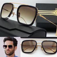 Wholesale New Style Coating - new logo sunglasses flight 006 square frame coating mirror lens gold plated men brand designer UV400 lens retro style top quality