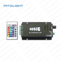 Wholesale 12 Led Strip Lights - HITOLIGHT DC12-24V 12A Music Controller IR Remote Control Aluminum LED RGB Music Controller & for Audio Sound Sensitive for Strip Light