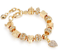 Wholesale Real Gold Jewelry Bracelet - kc real gold plated pandora style charm bracelets European American popular bead bracelet beautiful crystal love jewelry for women girl
