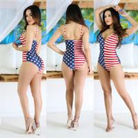 roupa de banho da bandeira dos eua venda por atacado-2017 Bikini One Pieces Swimwear Impresso Bikini Bandeira Americana EUA mulheres sexy swimwear biquíni sexy Biquíni define Maiô Sutiã Maiô